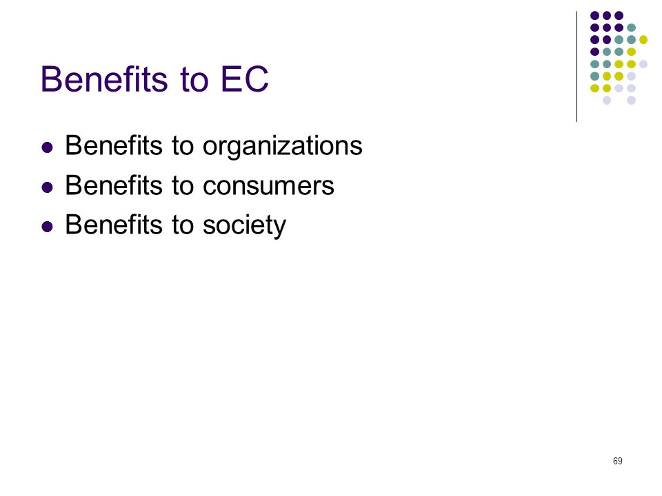 Benefits to EC Benefits to organizations Benefits to consumers