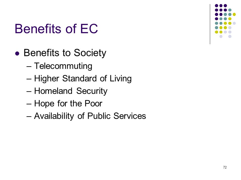 Benefits of EC Benefits to Society Telecommuting
