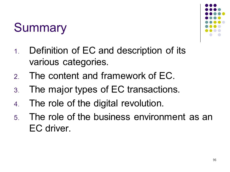 Summary Definition of EC and description of its various categories.
