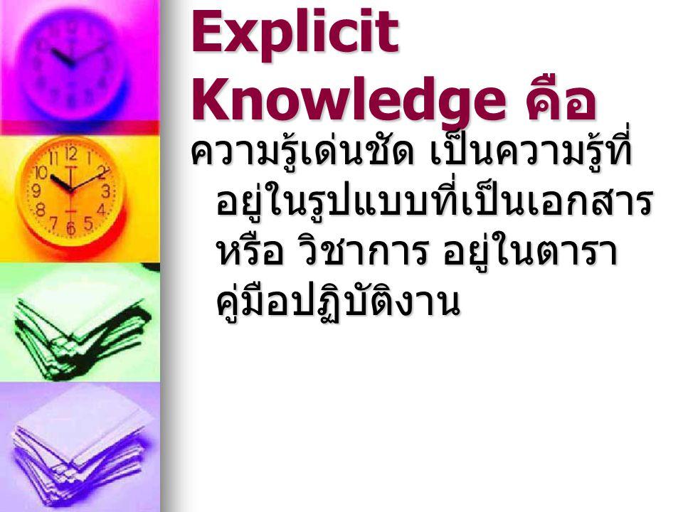 Explicit Knowledge คือ