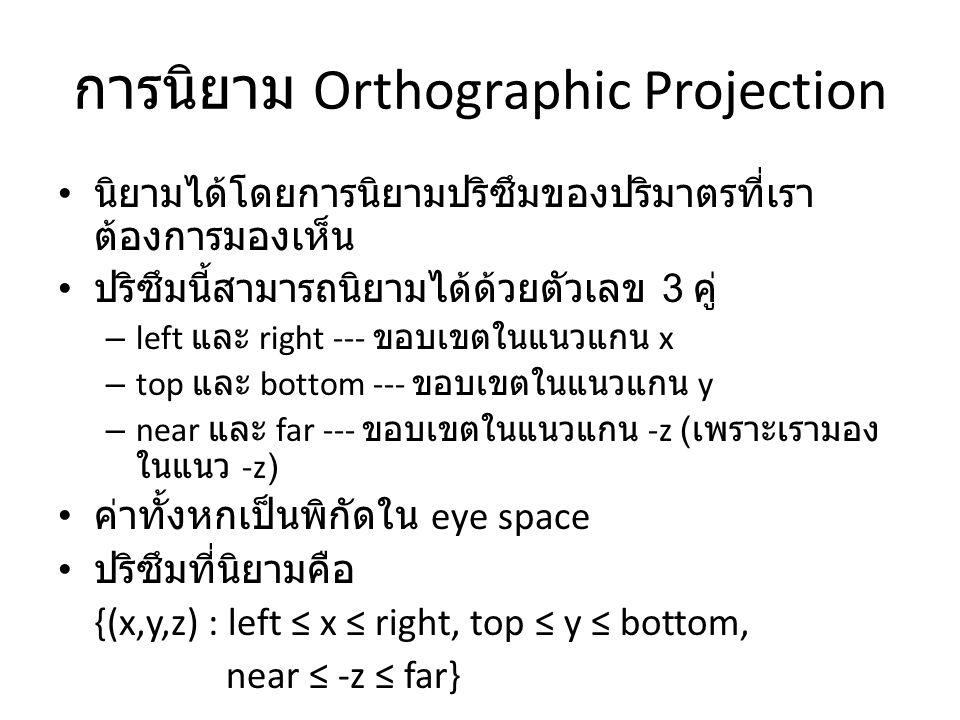 การนิยาม Orthographic Projection