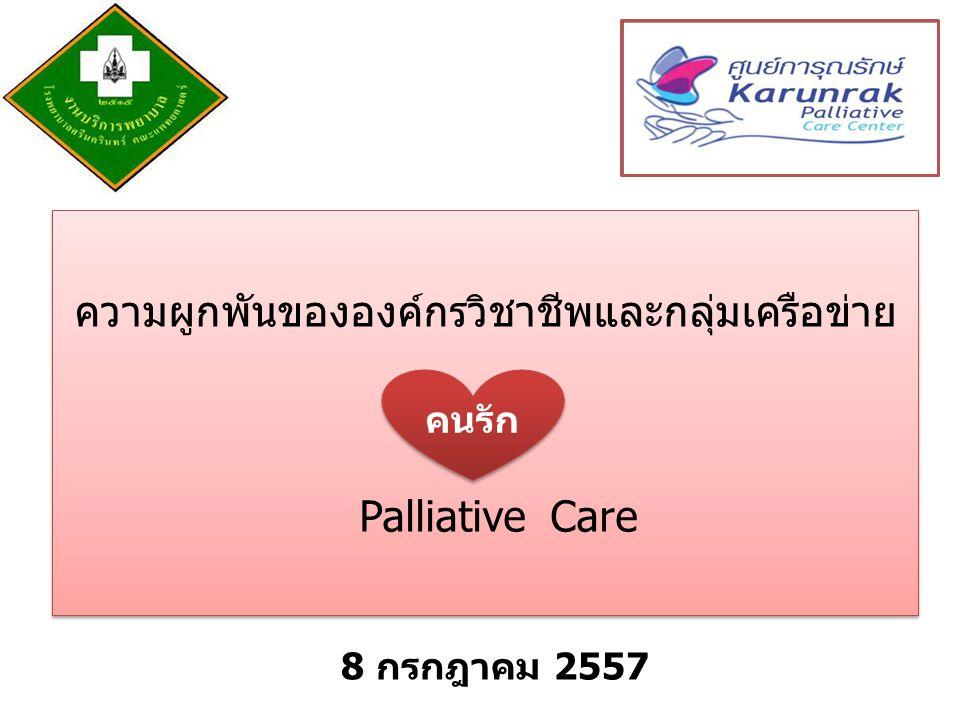 ความผูกพันขององค์กรวิชาชีพและกลุ่มเครือข่าย Palliative Care