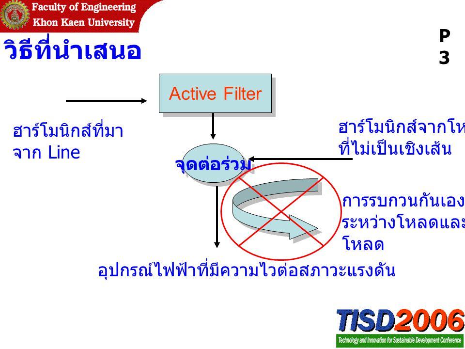 วิธีที่นำเสนอ P3 Active Filter ฮาร์โมนิกส์จากโหลด