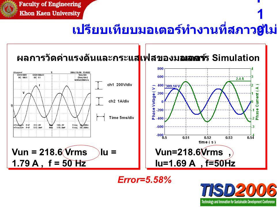 P19 เปรียบเทียบมอเตอร์ทำงานที่สภาวะไม่มีโหลด
