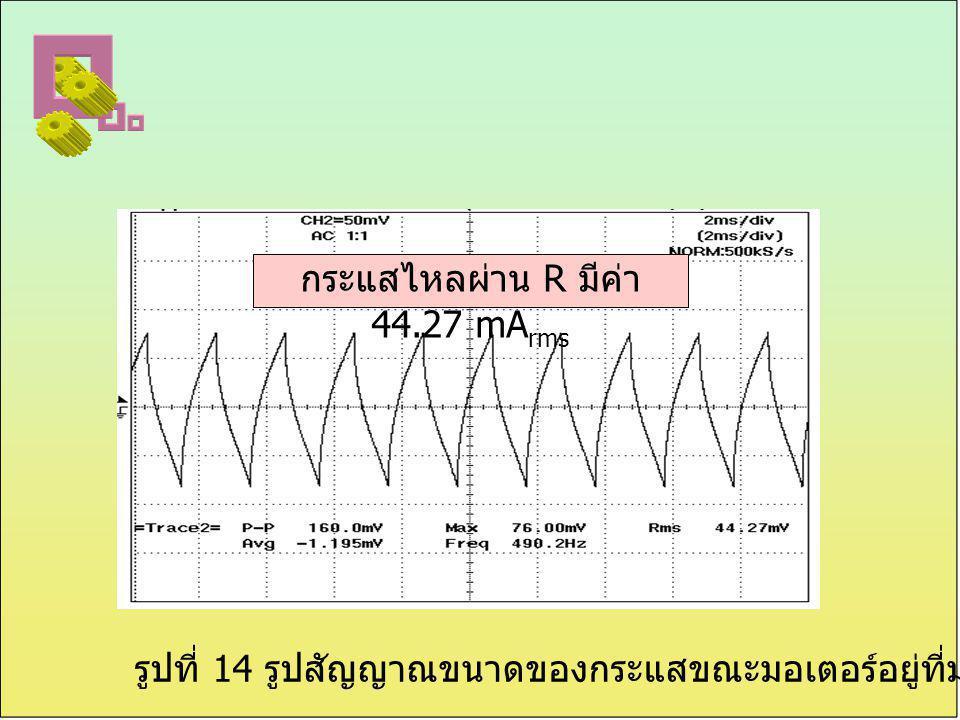 กระแสไหลผ่าน R มีค่า 44.27 mArms