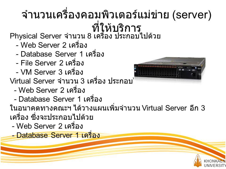 จำนวนเครื่องคอมพิวเตอร์แม่ข่าย (server) ที่ให้บริการ