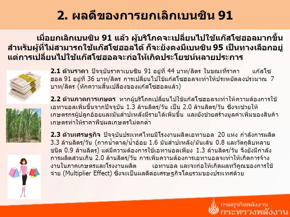 2. ผลดีของการยกเลิกเบนซิน 91