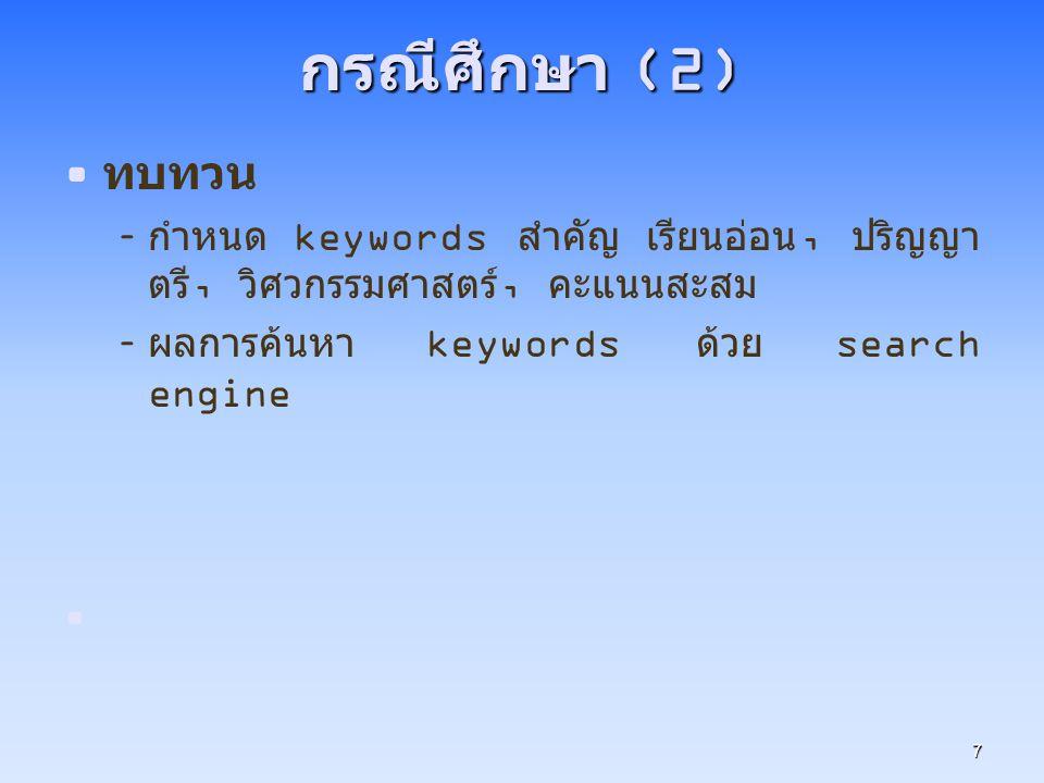 กรณีศึกษา (2) ทบทวน. กำหนด keywords สำคัญ เรียนอ่อน, ปริญญาตรี, วิศวกรรมศาสตร์, คะแนนสะสม.
