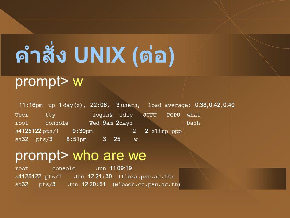 คำสั่ง UNIX (ต่อ) prompt> w