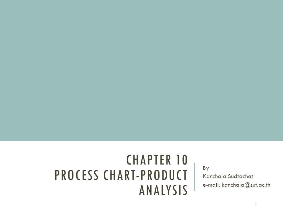 Chapter 10 Process chart-product analysis