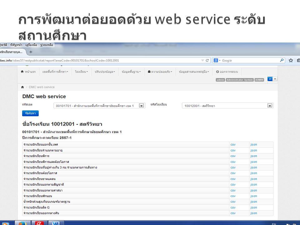 การพัฒนาต่อยอดด้วย web service ระดับสถานศึกษา