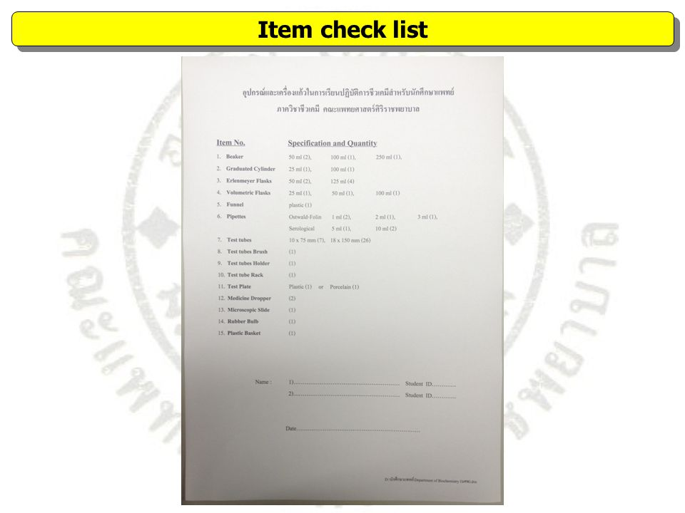 Item check list