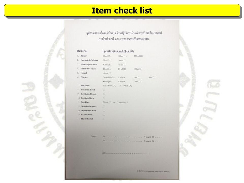 Item check list