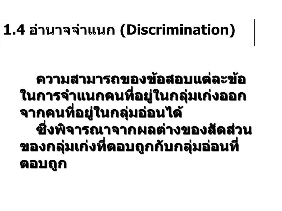 1.4 อำนาจจำแนก (Discrimination)