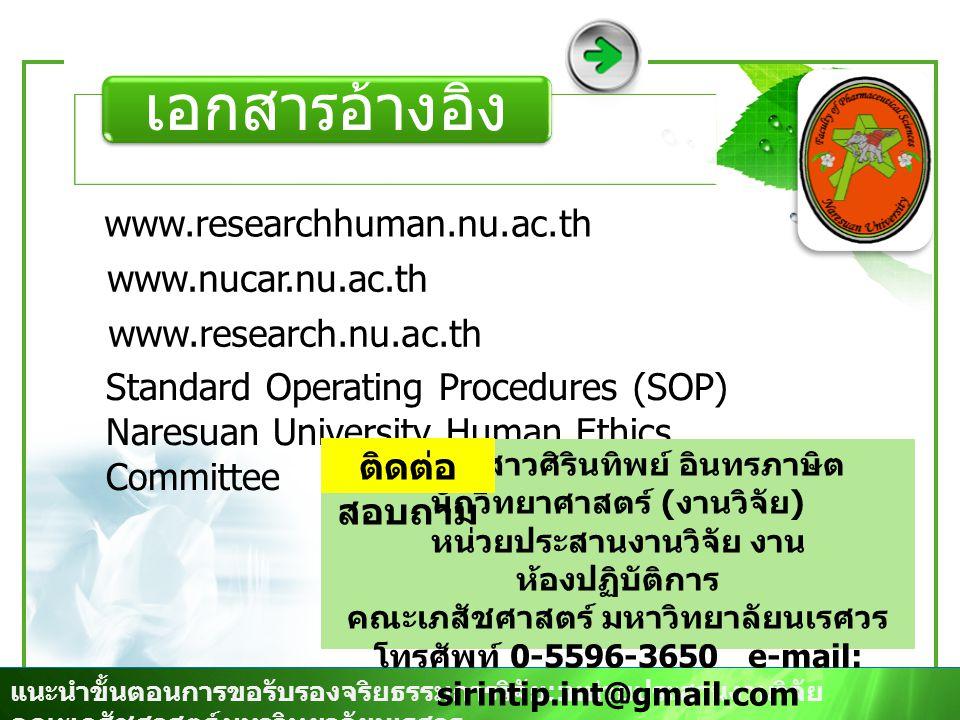 เอกสารอ้างอิง www.researchhuman.nu.ac.th www.nucar.nu.ac.th