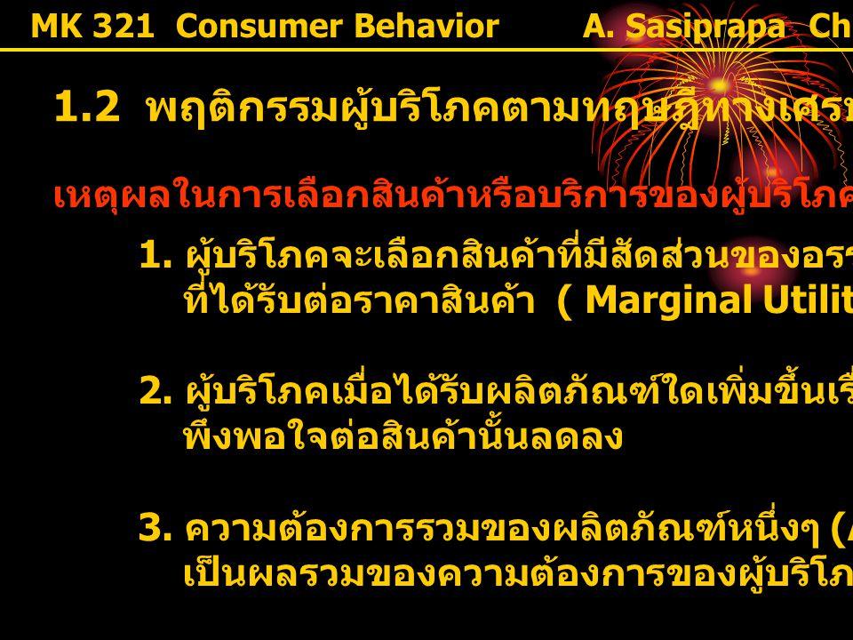 1.2 พฤติกรรมผู้บริโภคตามทฤษฎีทางเศรษฐศาสตร์