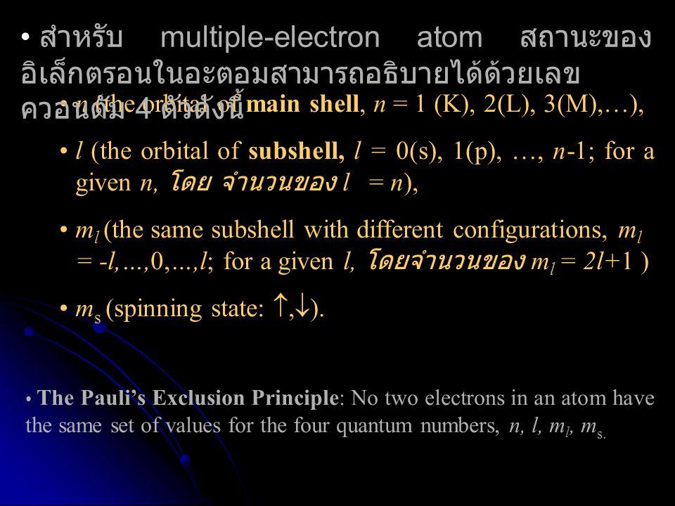 สำหรับ multiple-electron atom สถานะของอิเล็กตรอนในอะตอมสามารถอธิบายได้ด้วยเลขควอนตัม 4 ตัวดังนี้