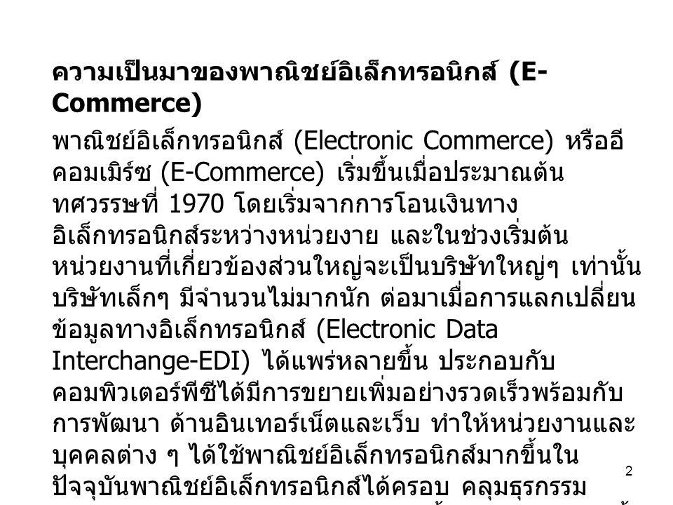 ความเป็นมาของพาณิชย์อิเล็กทรอนิกส์ (E-Commerce)