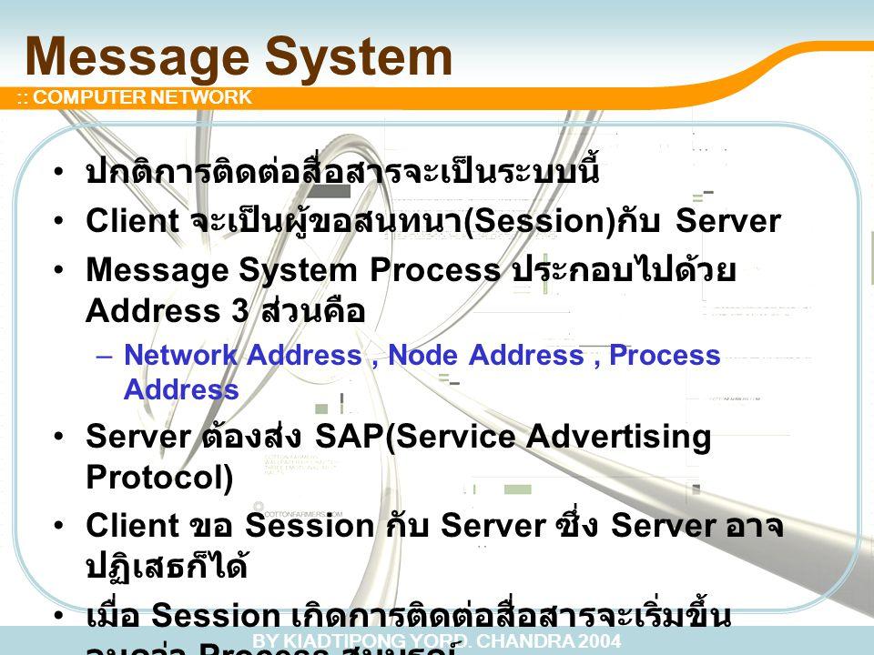Message System ปกติการติดต่อสื่อสารจะเป็นระบบนี้