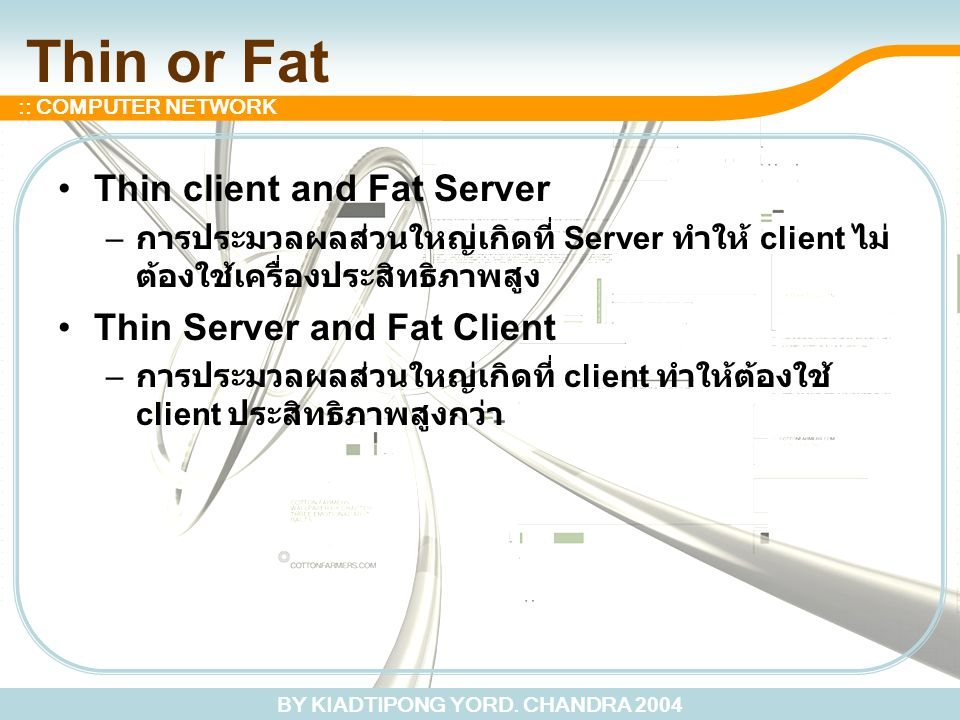 Thin or Fat Thin client and Fat Server Thin Server and Fat Client