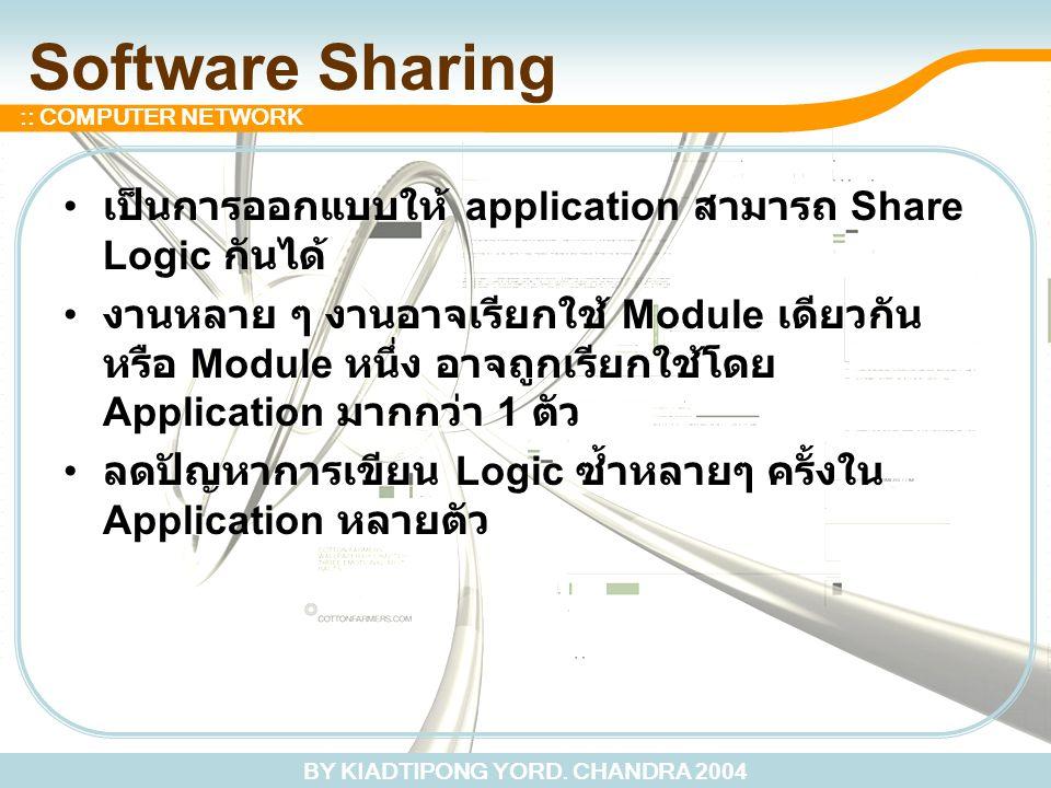 Software Sharing เป็นการออกแบบให้ application สามารถ Share Logic กันได้