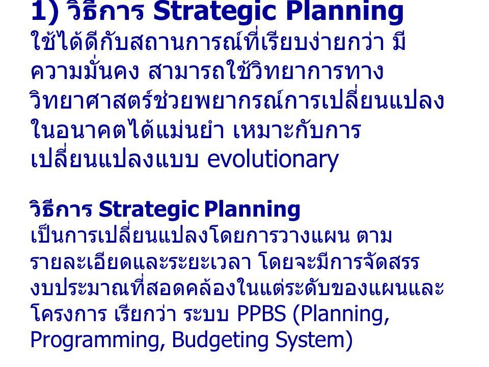 1) วิธีการ Strategic Planning ใช้ได้ดีกับสถานการณ์ที่เรียบง่ายกว่า มีความมั่นคง สามารถใช้วิทยาการทางวิทยาศาสตร์ช่วยพยากรณ์การเปลี่ยนแปลงในอนาคตได้แม่นยำ เหมาะกับการเปลี่ยนแปลงแบบ evolutionary