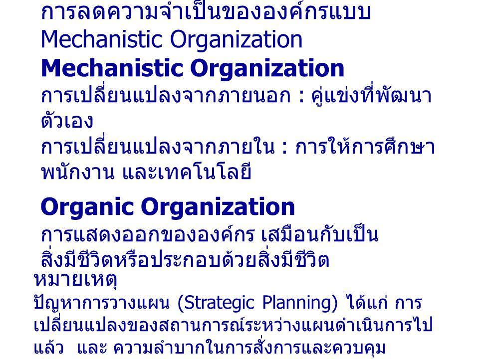 การลดความจำเป็นขององค์กรแบบ Mechanistic Organization