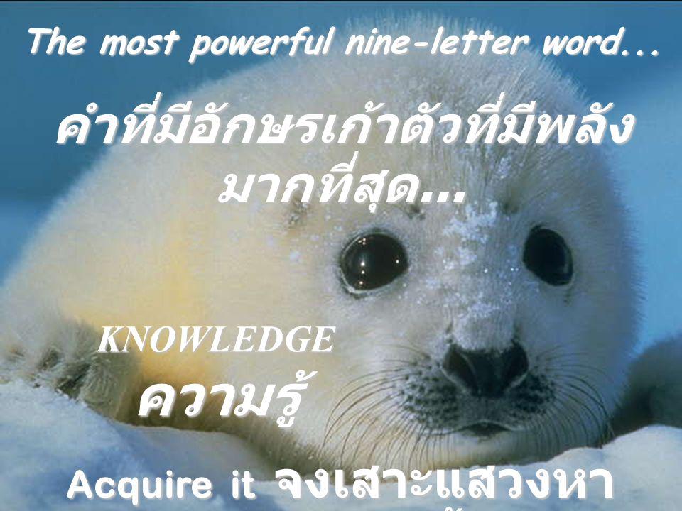 คำที่มีอักษรเก้าตัวที่มีพลังมากที่สุด...