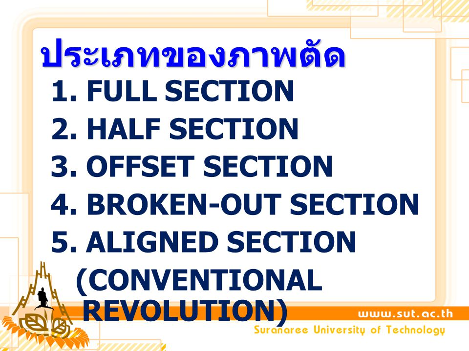 ประเภทของภาพตัด 1. FULL SECTION 2. HALF SECTION 3.