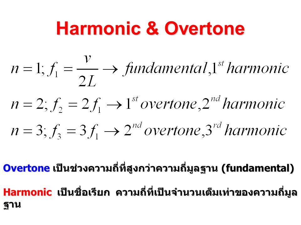Harmonic & Overtone Overtone เป็นช่วงความถี่ที่สูงกว่าความถี่มูลฐาน (fundamental) Harmonic เป็นชื่อเรียก ความถี่ที่เป็นจำนวนเต็มเท่าของความถี่มูลฐาน.