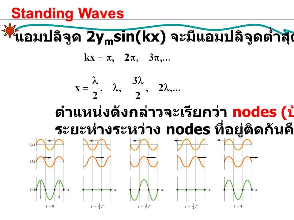 Standing Waves แอมปลิจูด 2ymsin(kx) จะมีแอมปลิจูดต่ำสุด (= 0) ที่ตำแหน่ง. ตำแหน่งดังกล่าวจะเรียกว่า nodes (บัพ)