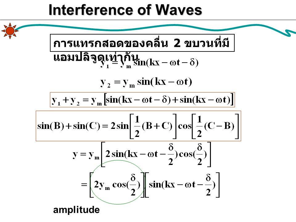 Interference of Waves การแทรกสอดของคลื่น 2 ขบวนที่มีแอมปลิจูดเท่ากัน