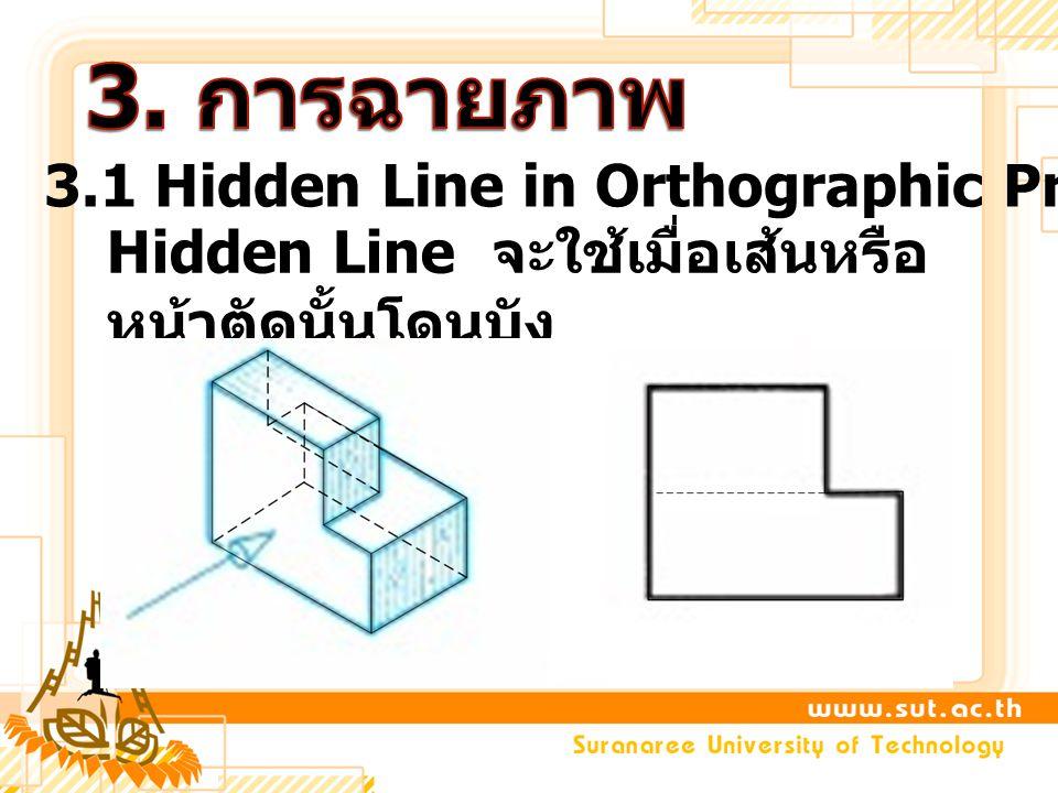 3. การฉายภาพ 3.1 Hidden Line in Orthographic Projection
