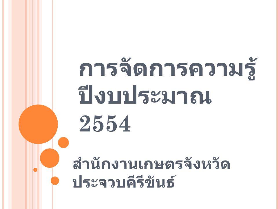 การจัดการความรู้ ปีงบประมาณ 2554
