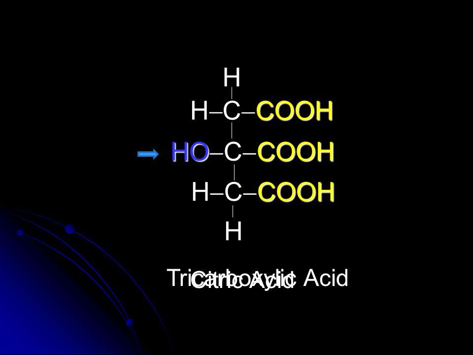H H CCOOH HOCCOOH HCCOOH H Tricarboxylic Acid Citric Acid