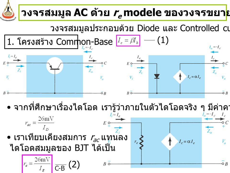 วงจรสมมูล AC ด้วย re modele ของวงจรขยายสัญญาณขนาดเล็กของ BJT