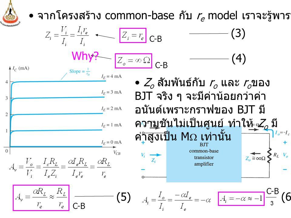 จากโครงสร้าง common-base กับ re model เราจะรู้พารามิเตอร์ต่าง ๆ นี้
