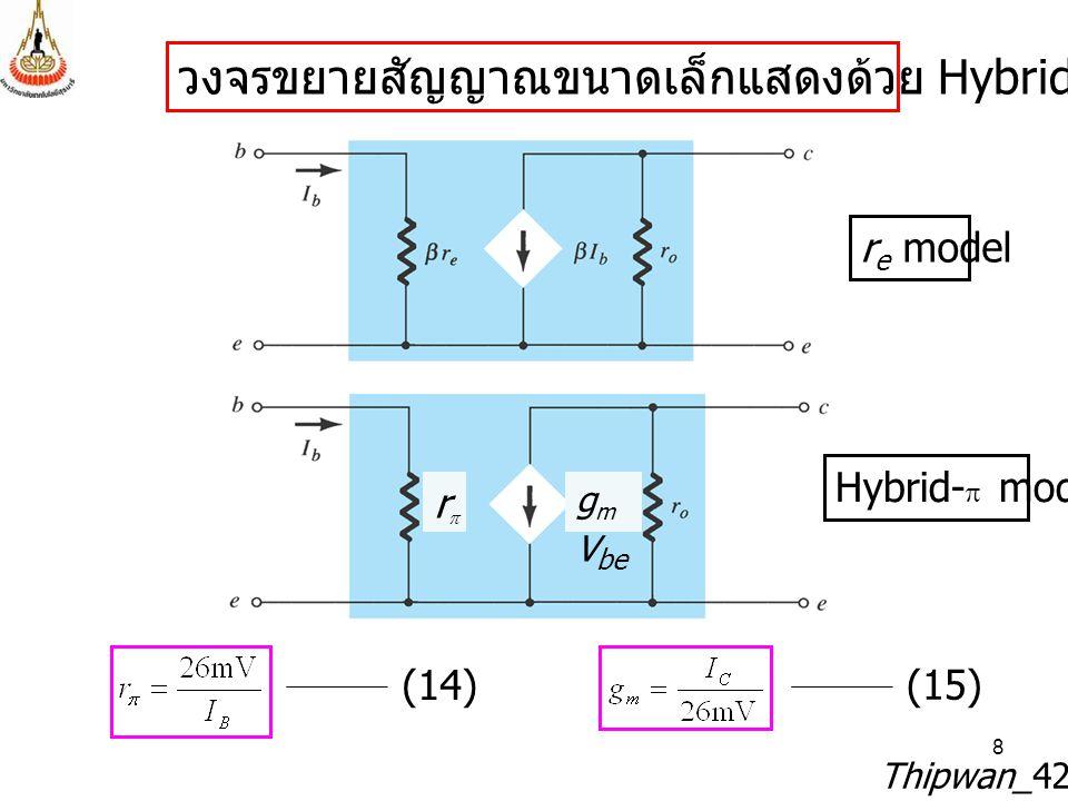 วงจรขยายสัญญาณขนาดเล็กแสดงด้วย Hybrid- model