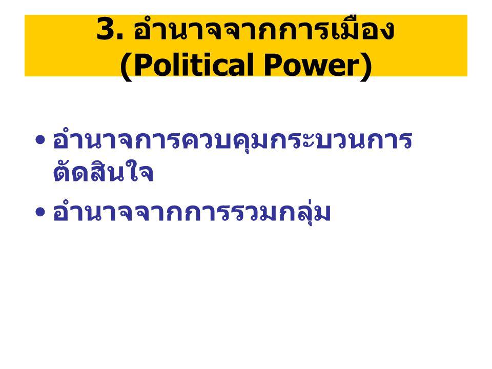 3. อำนาจจากการเมือง (Political Power)