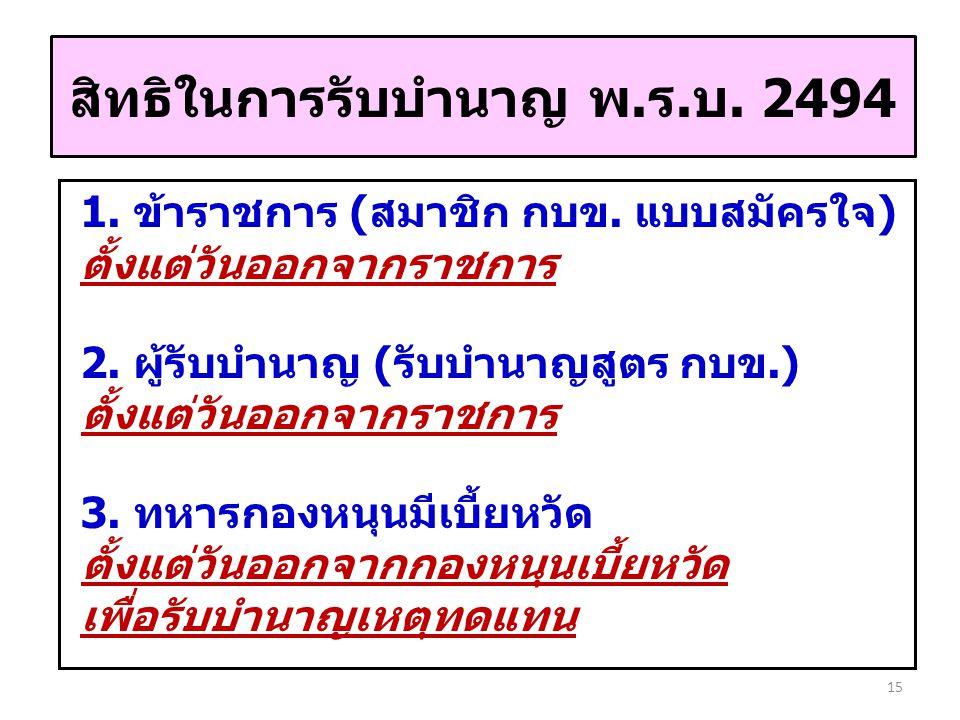 สิทธิในการรับบำนาญ พ.ร.บ. 2494