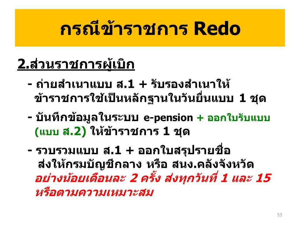 กรณีข้าราชการ Redo 2.ส่วนราชการผู้เบิก