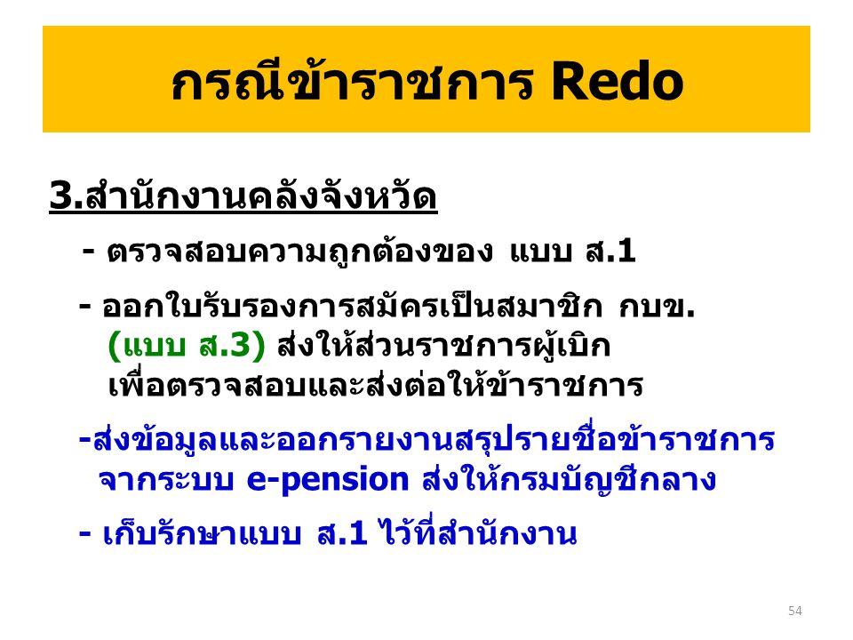 กรณีข้าราชการ Redo 3.สำนักงานคลังจังหวัด