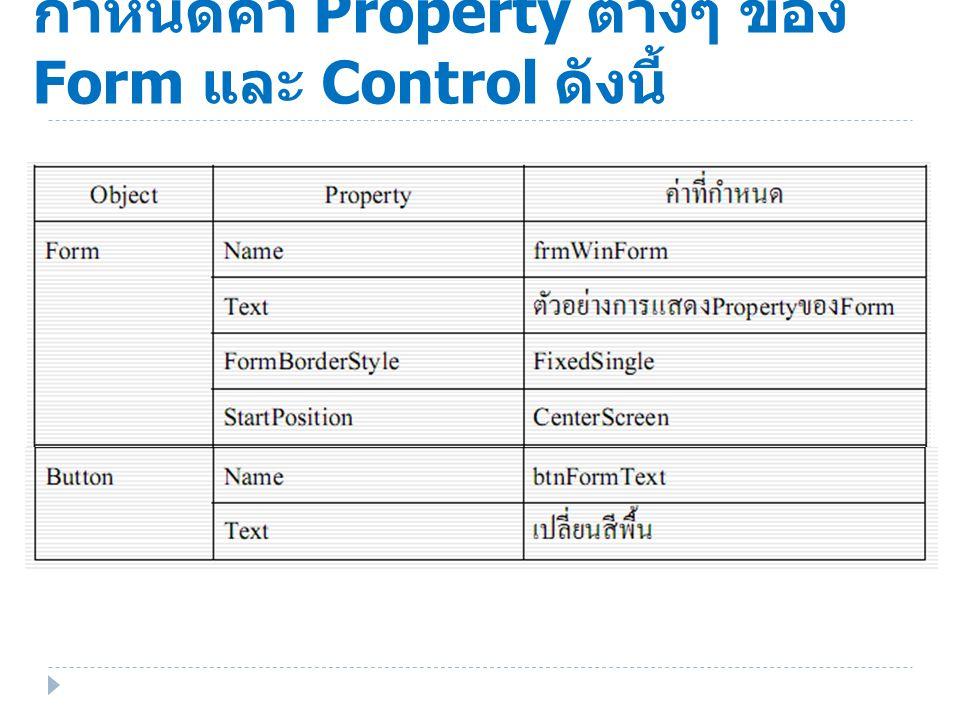 กําหนดค่า Property ต่างๆ ของ Form และ Control ดังนี้