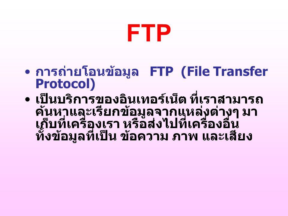 FTP การถ่ายโอนข้อมูล FTP (File Transfer Protocol)