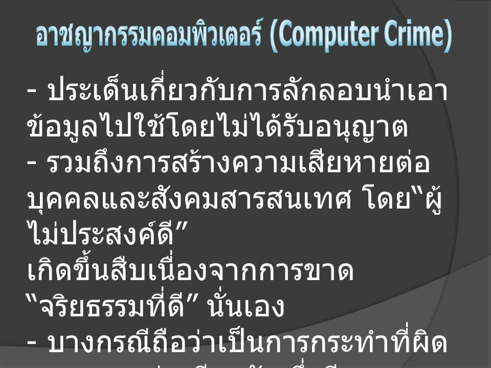 อาชญากรรมคอมพิวเตอร์ (Computer Crime)