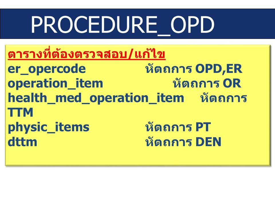 PROCEDURE_OPD ตารางที่ต้องตรวจสอบ/แก้ไข er_opercode หัตถการ OPD,ER