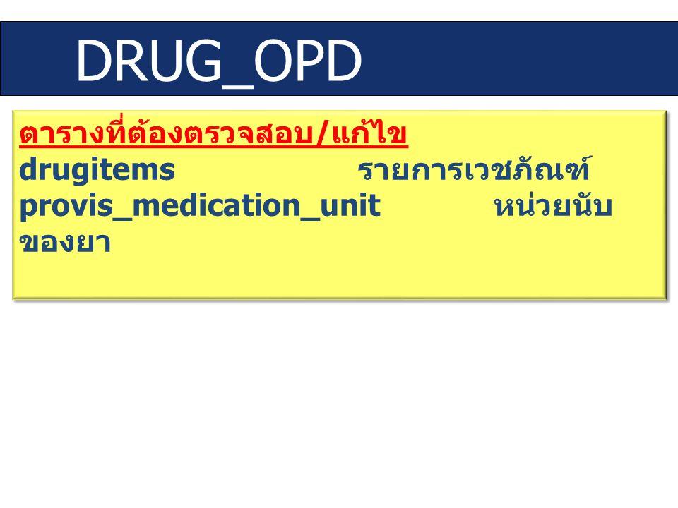 DRUG_OPD ตารางที่ต้องตรวจสอบ/แก้ไข drugitems รายการเวชภัณฑ์