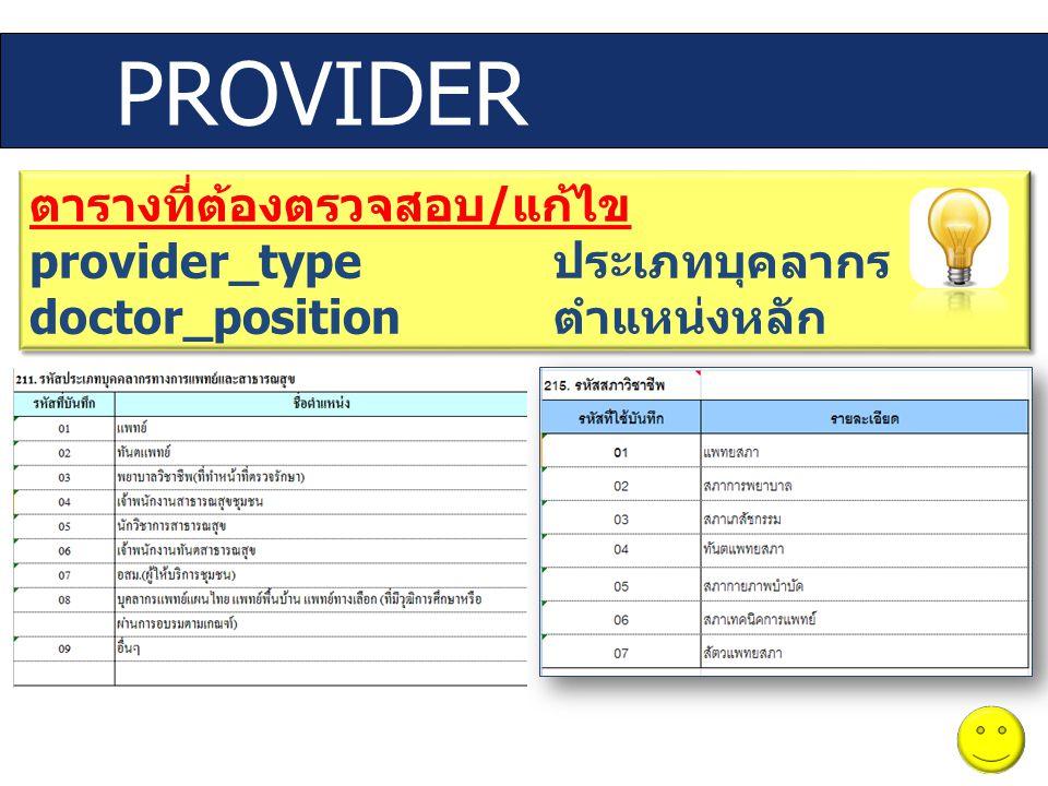 PROVIDER ตารางที่ต้องตรวจสอบ/แก้ไข provider_type ประเภทบุคลากร