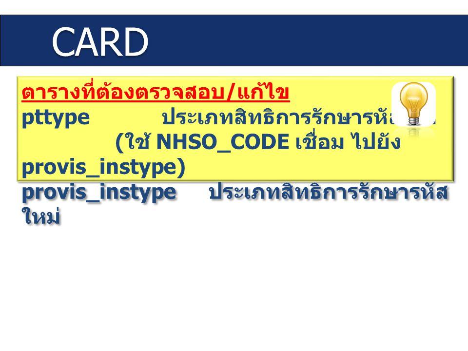 CARD ตารางที่ต้องตรวจสอบ/แก้ไข pttype ประเภทสิทธิการรักษารหัสเดิม