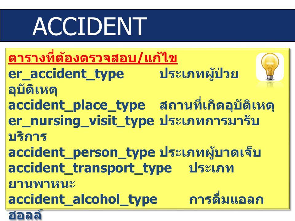 ACCIDENT ตารางที่ต้องตรวจสอบ/แก้ไข